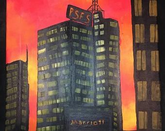 Original Canvas Acrylic Painting of Philadelphia PSFS Building