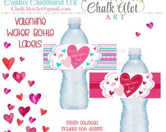 Valentine Water Bottle Labels, Valentines, Valentine Favors, Valentine's Day. Valentines - Instant Download