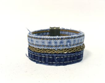 Jean Upcycled two strands + 1 gold bracelet