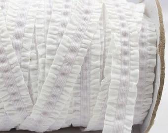 White Ruffle Frilly FOE Fold Over Elastic 16mm per Yard