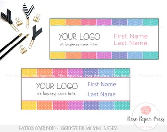Facebook Cover Design – Herringbone or Polka Dot   Custom Digital File   Cover Photo, Shop Banner, Timeline Cover, Facebook Banner