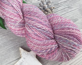 Handspun Yarn, Hand Dyed Yarn - Merino, Mulberry Silk – Worsted - PRINZESSIN – 270yards/3,81oz