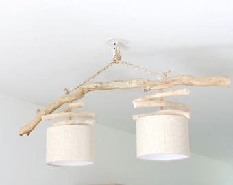 Chandelier Driftwood - linen - double - Led - hanging ceiling light
