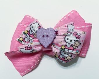 Pink, purple, white, blue Kitty - Large hair/dog bow