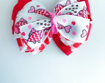 Red with white polka dots and kissing fishes - Medium hair/dog bow
