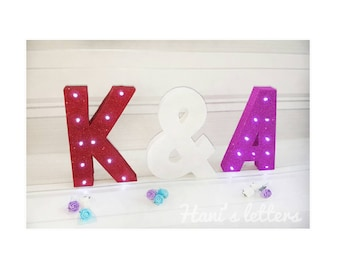 Marquee light letters, love letters, wedding letter lights, light up letters, engagement party, home decor, wedding decoration, his & her