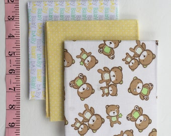 Cute Baby Fat Quarters Bundle with Bears.  Pastels Yellow, Brown, Green, White. 3 piece
