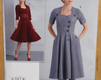 Retro Dress Simplicity Pattern D0545 / 8259. Misses size 8, 10, 12, 14, 16