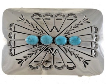 Navajo Jewelry Turquoise Belt Buckle Hand Hammered Silver