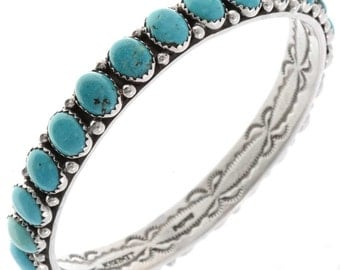 Natural Turquoise Bangle Bracelet Ladies Average Wrist Size