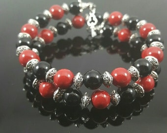 HANDMADE Red, Black, Silver Memory Wire Bracelet
