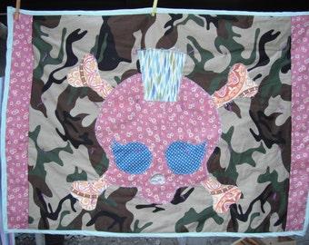 Skull Mohawk Baby Quilt