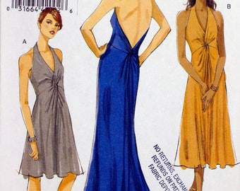 Vogue 8448 Free Shipping  Miss Dress, Long and Short  Size 4 to 10  Uncut