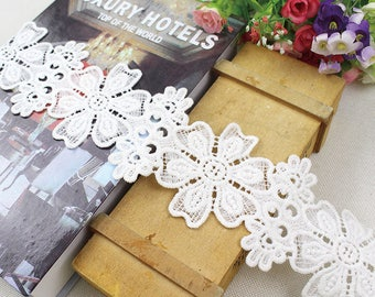 1 Yard Lovely Cotton Lace Trim, White Ribbon Lace, White Cotton Lace Trim for Bridal, Sewing, Applique, Gift wrap, Crafting