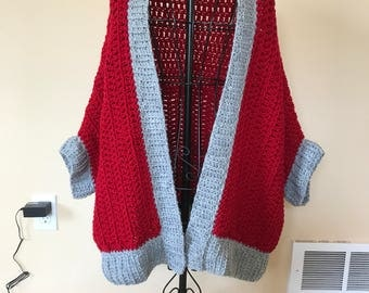 Chunky knit cardigan, sweater, shawl, shrug, wrap, blanket sweater, cocoon sweater, wool blend, fits up to L/XL, handmade knitwear