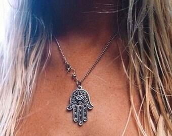 Boho Hamsa silver necklace
