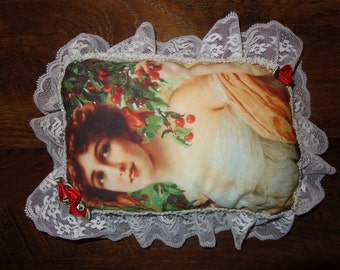 handmade vintage style decorative pillow