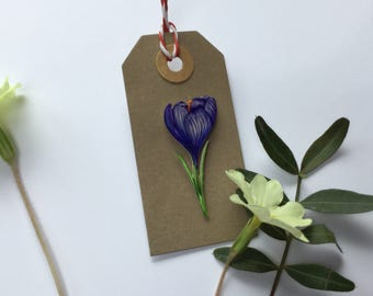 Floral hand drawn crocus pin brooch.