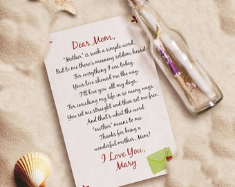 Personalized Mother's Day Message In A Bottle Custom Name Gift