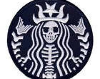 Skeleton Starbucks Embroidered Patch, size 3 x 3
