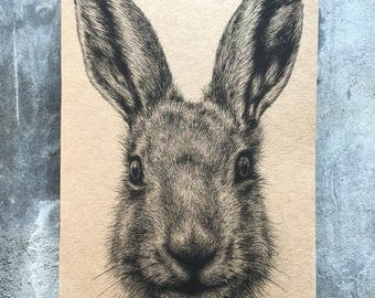 A5 kraft notebook hare pencil drawing