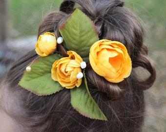 Yellow Flower Hair Pin, Set of 3