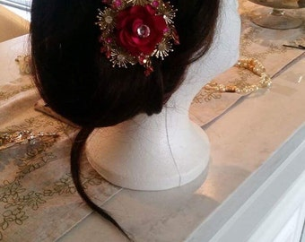 Hot Pink hair barrette clip Prom hair