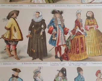 1894 original German lithograph European fashion