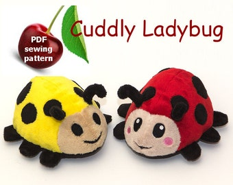 Ladybug stuffed animal handheld size plushie PDF sewing pattern - cute and easy kawaii anime DIY plush toy