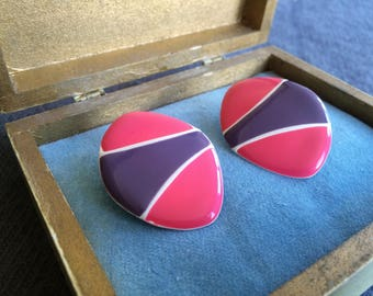 Fun and Sassy Hot Pink and Purple 1980's Fashion Earrings