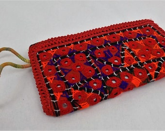 Coin Pouch*Ethnic Bag*Boho Bag*Sindhi Mirrored*Clutch Bag*Embroidered*Red Pouch*Tribal*Bohemian*Handcrafted Pouches//FREE SHIPPING//SP2701//