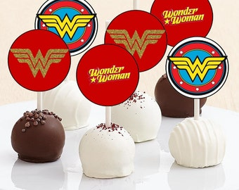 Wonder Woman Cake Pop Toppers - Instant Download - Wonder Woman Cupcake Toppers - Wonder Woman Party - Digital Download - Cake Pops - Topper