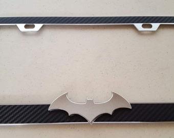 Batman Chrome 3D on Black Carbon Fiber Style Chrome Metal License Frame