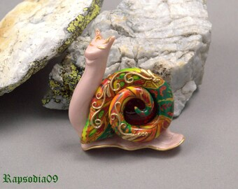 Jewelry Snail brooch jewelry Gold red jewelry Filigree brooch Polymer clay brooch Statement jewelry
