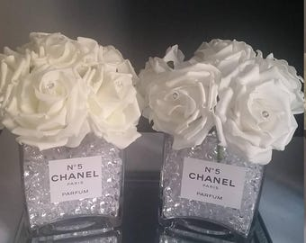 Designer Inspired Vase With Artificial Roses With Diamante's - Crystals included