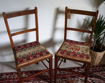 Two Folk Art Embroidery Covered Edwardian Chairs Inlay