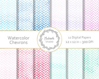 Chevron digital paper - Chevron clipart - Scrapbook paper - Watercolor Chevron Digital Paper - Watercolor Digital Paper - Commercial use