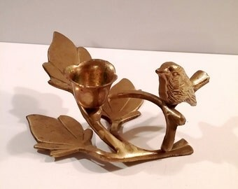 Vintage Brass Bird Candle Holder