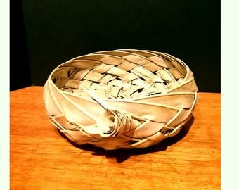 Vintage Hawaiian Handmade Palm Frond Woven Basket with Rose Design