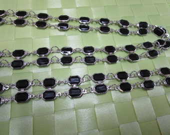 """this is a 1 3/8 yards in 1"""" width 2 silver tone with black acrylic bead chain for your fashion/wedding design decorative.(b3)"""