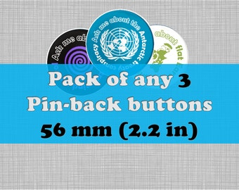 """Pack of 3  Large 56mm (2.2"""") Conspiracy Pinback Buttons - Ask Me About Conspiracy Button Badges - Black Pin Badges - White Plastic Badges"""