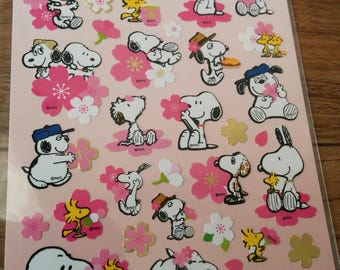 seals of  Sanrio characters, SNOOPY with Sakura(cherry blossoms), made in Japan