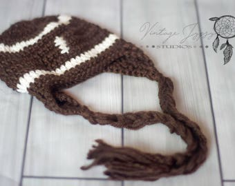 Newborn Photo Prop Crochet Football Hat