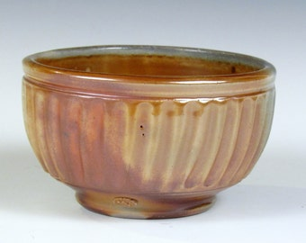 "Woodfired, Stoneware fluted bowl 5 1/2"" x 3"""