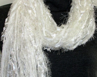 All fringe scarf, Knotted Fringe scarf, soft yarn scarf, Boho scarf, womens gifts, lightweight scarf,