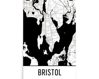 Bristol Map, Bristol Art, Bristol Print, Bristol RI Poster, Bristol Wall Art, Map of Bristol, Bristol Gift, Bristol Decor, Bristol Map Art