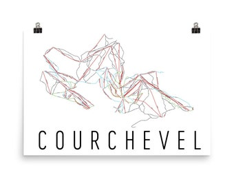 Courchevel Ski Map Art, Courchevel France, Courchevel Trail Map, Courchevel Piste Map Print, France Art, French Print, France Gifts, French
