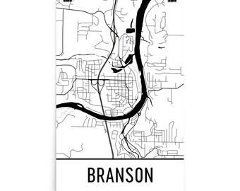 Branson Map, Branson Art, Branson Print, Branson MO Poster, Branson Wall Art, Map of Branson, Branson Gift, Branson Decor, Branson Map Print