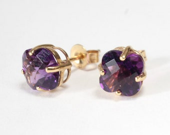 14k Gold Amethyst Earring Flower Cushion Pillow Cut February Birthstone Post Stud
