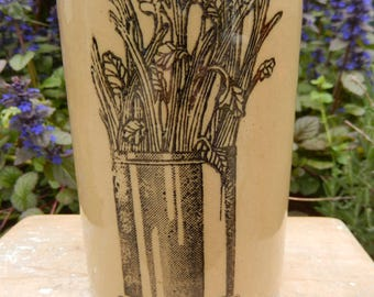 Celery Vase, Pearson's of Chesterfield Stoneware, Celery Pot, Pearson's Celery Jar, Stoneware Pottery, Vintage Pearson's Pottery